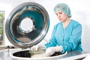 medical technician examine equipment.